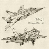 The Mikoyan MiG-31. The series of soviet military enginery. The Mikoyan MiG-31 a supersonic interceptor aircraft developed to replace the MiG-25 Foxbat Royalty Free Stock Images