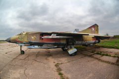 Mikoyan MiG-23 56 BLUE jet fighter of Russian air force on storage at Kubinka air force base. Royalty Free Stock Photo