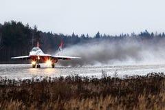 Mikoyan MiG-29UB 09 BLUE jet fighter taking off at Kubinka air force base. Stock Photography