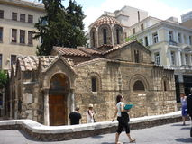Mikri Metropoli, The Little Cathedral. Also called Church of Our Lady Who Swiftly Hears. It is located at the heart of the Plaka (Market Place) District of stock photo