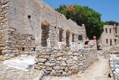Mikro Chorio废墟,蒂洛斯岛 库存照片