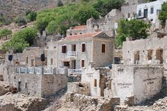 Mikro Chorio wioska, Tilos Obraz Royalty Free