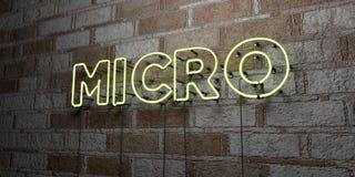 MIKRO - Glödande neontecken på stenhuggeriarbeteväggen - 3D framförde den fria materielillustrationen för royalty royaltyfri illustrationer