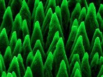 Mikro-grova spikar på silikoner som produceras av laserstrålen Arkivfoton