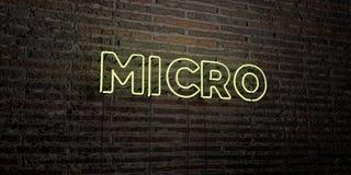 MIKRO- realistiskt neontecken på bakgrund för tegelstenvägg - 3D framförde fri materielbild för royalty royaltyfri illustrationer