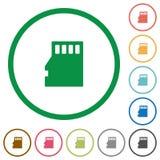 Mikro SD pamięci karty zarysowane płaskie ikony Fotografia Stock