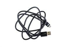 Mikro USB kabel na bielu Zdjęcie Stock