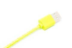 Mikro-USB-Ladegerät ein Handy auf weißem Hintergrund Stockfotografie