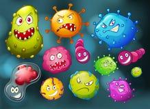 Mikroben mit Monstergesicht Stockbild