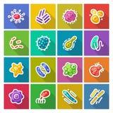 Mikroben-und Bakterien-flache Ikonen eingestellt stock abbildung