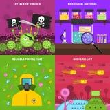 Mikrobiologiekonzeptsatz Stockfotos