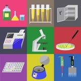 Mikrobiologii laboranckie ikony ustawiać ilustracji