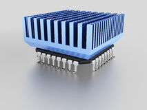 Mikrochip mit Kühlkörper Stockbilder
