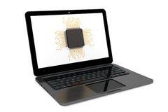 Mikrochip och modern bärbar dator Royaltyfria Bilder