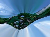 Mikrochip rütteln Hände Lizenzfreies Stockfoto