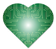 Mikrochipherz-Zusammenfassungstechnologie Stockfotos