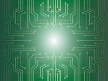 Mikrochipkarikatur-Vektorfahne Lizenzfreies Stockbild