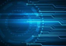 Mikrochips för Digital begreppsmässig bildströmkrets på blå bakgrund Royaltyfri Fotografi