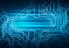 Mikrochips för Digital begreppsmässig bildströmkrets på blå bakgrund Arkivfoto