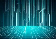 Mikrochips för Digital begreppsmässig bildströmkrets på den blåa väggen Arkivbilder