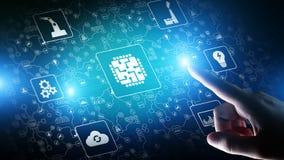 Mikrochips, konstgjord intelligens, automation och internet av saker, IOT, Digital integration vektor illustrationer