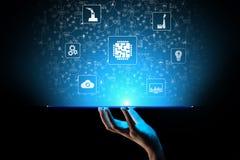 Mikrochips, konstgjord intelligens, automation och internet av saker IOT, Digital integration begrepp isolerad teknologiwhite vektor illustrationer