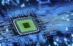 mikrochips som integreras på moderkortet Arkivbild