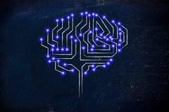 Mikrochipstromkreisgehirn mit geführten Lichtern Stockfotografie
