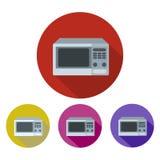 Mikrofali ikona w mieszkanie stylu z długim cieniem, odosobniona wektorowa ilustracja na zielonym przejrzystym tle Ilustracja Wektor