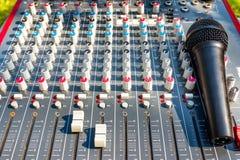 Mikrofon auf mischender Konsole eines großen Hifisystems, der Audiogeräte und des Bedienfelds lizenzfreies stockbild