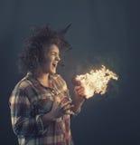 Mikrofon in den Flammen Stockfotografie