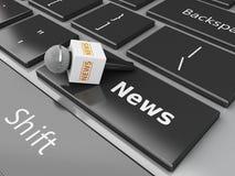 mikrofon för nyheterna 3d och datortangentbord med ordnyheterna royaltyfri illustrationer