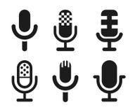Mikrofon głośnikowa ikona ustawiająca dla apps i stron internetowych - wektor royalty ilustracja
