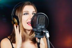 Mikrofon, grunge Aquarellstern u Lizenzfreie Stockbilder