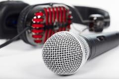 Mikrofon i hełmofony Obrazy Stock