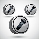 Mikrofon ikona odizolowywająca, 3d muzycznego tematu projekta wektorowy element Obraz Stock