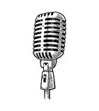 Mikrofon Illustration för gravyr för tappningvektorsvart royaltyfri illustrationer