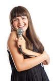 mikrofon kobieta Obrazy Stock