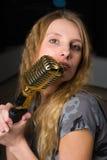 mikrofon kobieta Obraz Royalty Free