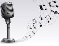Mikrofon med musikanmärkningen stock illustrationer