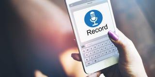 Mikrofon-Media Communications-Aufzeichnungs-Ikonen-Konzept Stockfoto