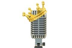 Mikrofon mit goldener Krone, Wiedergabe 3D Lizenzfreie Stockfotografie