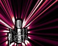 Mikrofon mit helle explos Stockfotografie