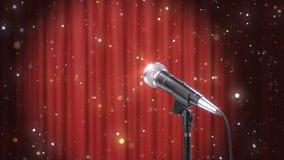 Mikrofon mit magischen Partikeln gegen unscharfen roten Vorhang-Hintergrund, 3d übertragen stockfotografie