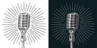 Mikrofon mit Strahl Weinlesevektorschwarz-Stichillustration vektor abbildung