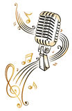 Mikrofon, muzyka Obrazy Stock