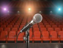 Mikrofon na scenie filharmonia lub teatr z czerwonym siedzeniem ilustracji