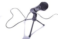 Mikrofon och hjärta Arkivfoto