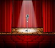 Mikrofon och röd gardin Royaltyfri Fotografi