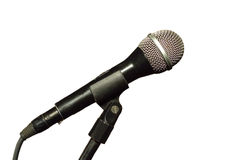 Mikrofon odizolowywający na bielu zakończeniu up Obrazy Royalty Free